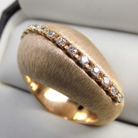 18K Rose Gold over Silver Wave Satin Finish ring